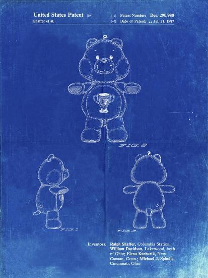 PP676-Faded Blueprint Champ Care Bear Poster-Cole Borders-Giclee Print