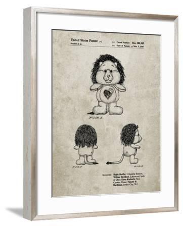 PP679-Sandstone Brave heart Lion Care Bear Patent Art Print-Cole Borders-Framed Giclee Print