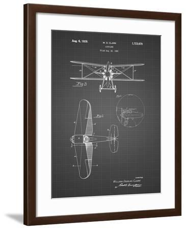 PP68-Black Grid Staggered Biplane Aircraft Patent Poster-Cole Borders-Framed Giclee Print