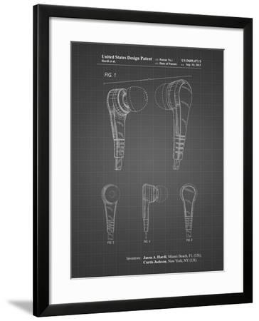 PP686-Black Grid Ear Buds Patent Poster-Cole Borders-Framed Giclee Print