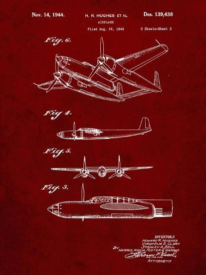 PP69-Burgundy Lockheed XP-58 Chain Lightning Poster-Cole Borders-Giclee Print