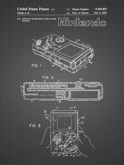 PP70-Black Grid Nintendo Game Boy Poster-Cole Borders-Giclee Print