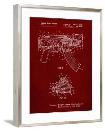 PP701-Burgundy Ak-47 Bolt Locking Patent Print-Cole Borders-Framed Giclee Print