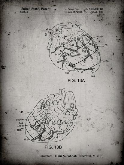 PP702-Faded Grey Anatomical Heart Poster-Cole Borders-Giclee Print