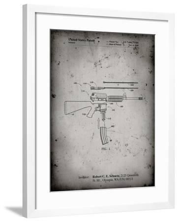 PP704-Faded Grey AR 15 Patent Poster-Cole Borders-Framed Giclee Print