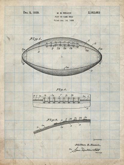 PP71-Antique Grid Parchment Football Game Ball Patent-Cole Borders-Giclee Print