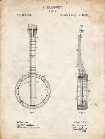 PP715-Vintage Parchment Banjo Mandolin Patent Poster-Cole Borders-Framed Giclee Print
