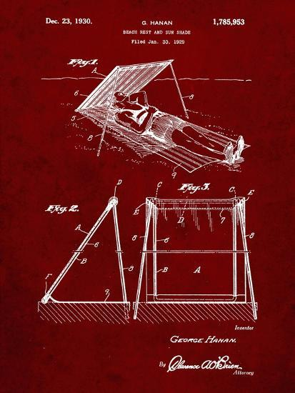 PP723-Burgundy Beach shade 1929 Patent Wall Art Poster-Cole Borders-Giclee Print