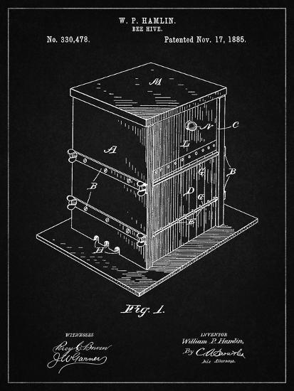 PP724-Vintage Black Bee Hive Exterior Patent Poster-Cole Borders-Giclee Print
