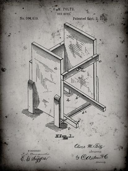 PP725-Faded Grey Bee Hive Frames Patent Poster-Cole Borders-Giclee Print