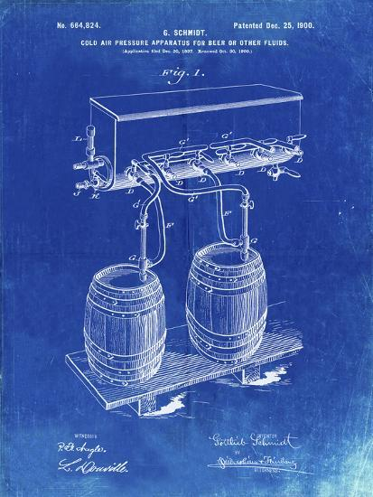 PP729-Faded Blueprint Beer Keg Cold Air Pressure Tap Poster-Cole Borders-Giclee Print