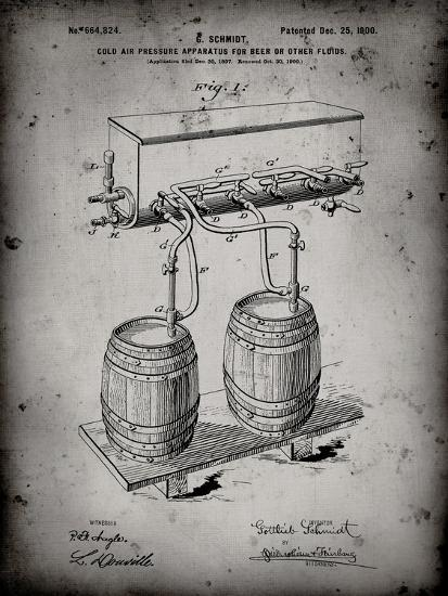 PP729-Faded Grey Beer Keg Cold Air Pressure Tap Poster-Cole Borders-Giclee Print