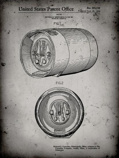 PP730-Faded Grey Beer Keg Patent Poster-Cole Borders-Giclee Print