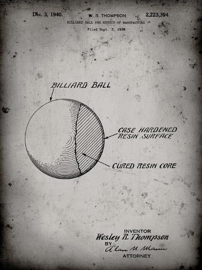 PP736-Faded Grey Billiard Ball Patent Poster-Cole Borders-Giclee Print