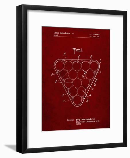 PP737-Burgundy Billiard Ball Rack Patent Poster-Cole Borders-Framed Giclee Print