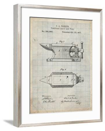 PP741-Antique Grid Parchment Blacksmith Anvil Patent Poster-Cole Borders-Framed Giclee Print