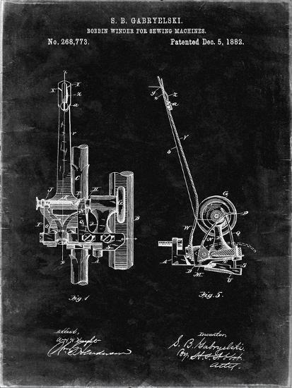 PP747-Black Grunge Bobbin Winder for Sewing Machines Poster-Cole Borders-Giclee Print