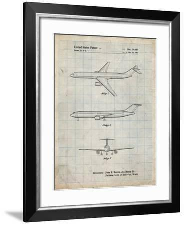 PP748-Antique Grid Parchment Boeing Concept 777 Aircraft Patent Poster-Cole Borders-Framed Giclee Print