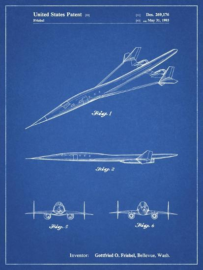 PP751-Blueprint Boeing Supersonic Transport Concept Patent Poster-Cole Borders-Giclee Print