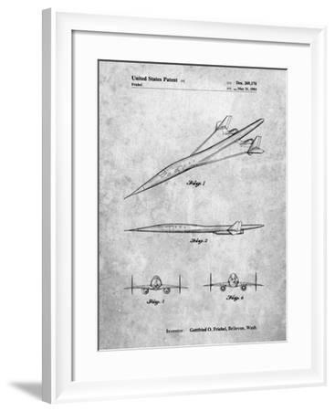PP751-Slate Boeing Supersonic Transport Concept Patent Poster-Cole Borders-Framed Giclee Print
