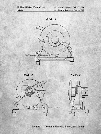 PP762-Slate Chop Saw Patent Poster-Cole Borders-Giclee Print