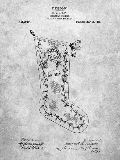 PP764-Slate Christmas Stocking 1912 Patent Poster-Cole Borders-Giclee Print