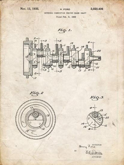 PP771-Vintage Parchment Combustion Engine Crank Shaft 1933 Poster-Cole Borders-Giclee Print