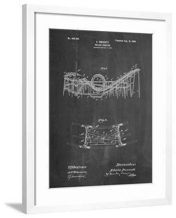 PP772-Chalkboard Coney Island Loop the Loop Roller Coaster Patent Poster-Cole Borders-Framed Giclee Print