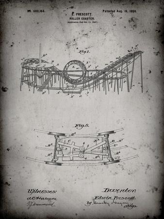PP772-Faded Grey Coney Island Loop the Loop Roller Coaster Patent Poster-Cole Borders-Framed Giclee Print