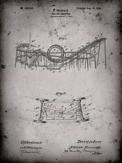 PP772-Faded Grey Coney Island Loop the Loop Roller Coaster Patent Poster-Cole Borders-Giclee Print
