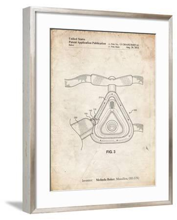 PP775-Vintage Parchment CPAP Mask Patent Poster-Cole Borders-Framed Giclee Print