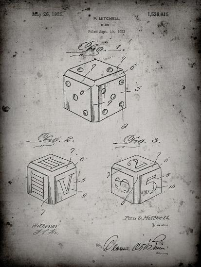 PP781-Faded Grey Dice 1923 Patent Poster-Cole Borders-Giclee Print