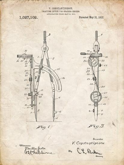 PP785-Vintage Parchment Drafting Compass 1912 Patent Poster-Cole Borders-Giclee Print