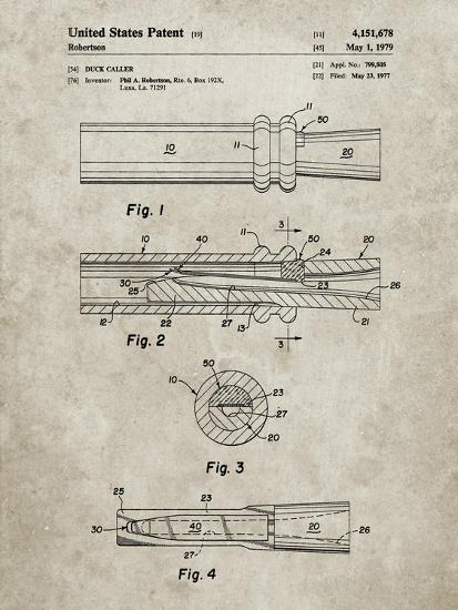 PP789-Sandstone Duck Call Patent Poster-Cole Borders-Giclee Print