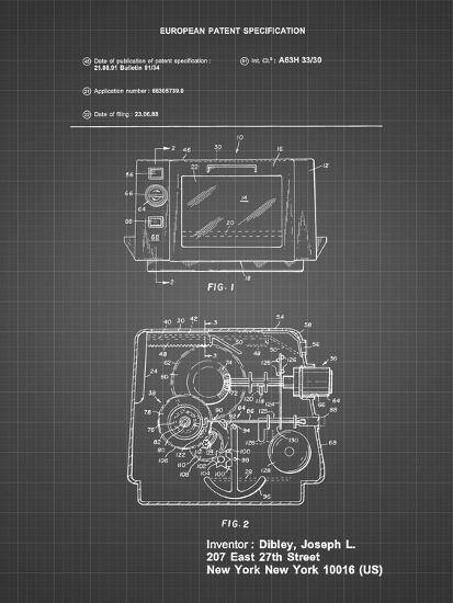 PP791-Black Grid Easy Bake Oven Patent Poster-Cole Borders-Giclee Print