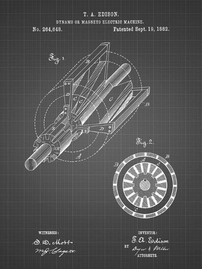 PP793-Black Grid Edison Dynamo Electrical Generator Patent Print-Cole Borders-Giclee Print