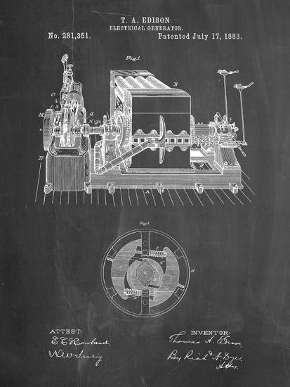 PP794-Chalkboard Edison Electrical Generator Patent Art-Cole Borders-Giclee Print
