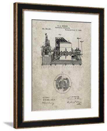 PP794-Sandstone Edison Electrical Generator Patent Art-Cole Borders-Framed Giclee Print