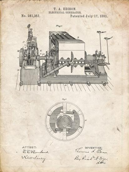 PP794-Vintage Parchment Edison Electrical Generator Patent Art-Cole Borders-Giclee Print