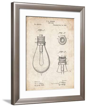 PP796-Vintage Parchment Edison Lamp Base Patent Print-Cole Borders-Framed Giclee Print