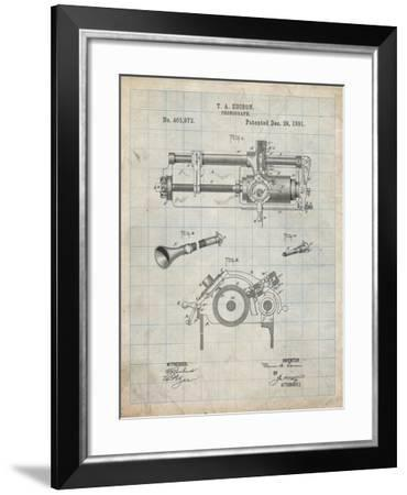 PP798-Antique Grid Parchment Edison Phonograph Patent Poster-Cole Borders-Framed Giclee Print