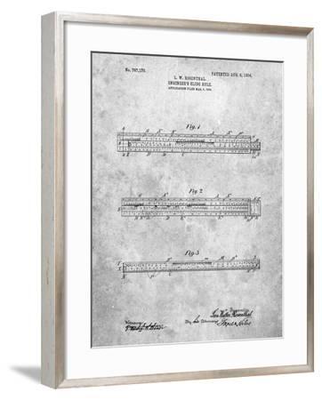 PP801-Slate Engineer's Slide Rule Patent Poster-Cole Borders-Framed Giclee Print