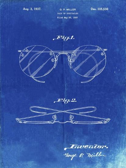 PP803-Faded Blueprint Eyeglasses Spectacles Patent Art-Cole Borders-Giclee Print