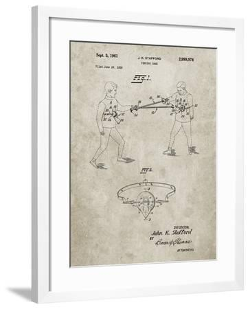 PP804-Sandstone Fencing Game Patent Poster-Cole Borders-Framed Giclee Print