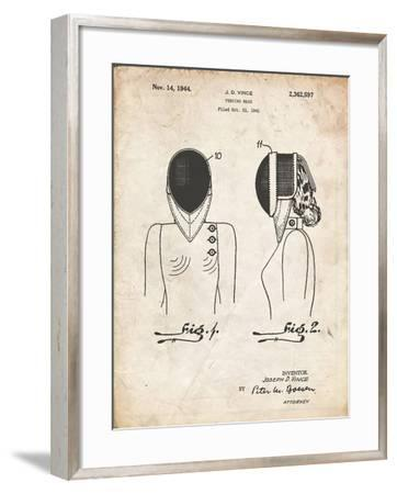 PP805-Vintage Parchment Fencing Mask Patent Poster-Cole Borders-Framed Giclee Print