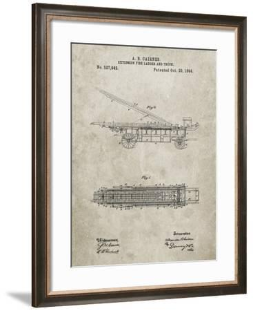 PP808-Sandstone Fire Extension Ladder 1894 Patent Poster-Cole Borders-Framed Giclee Print