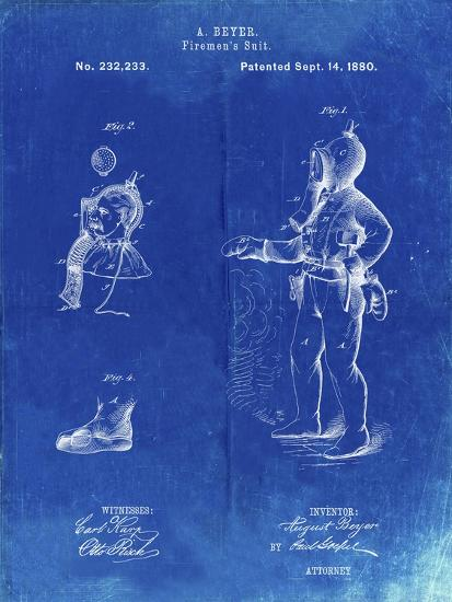 PP811-Faded Blueprint Firefighter Suit 1880 Patent Poster-Cole Borders-Giclee Print