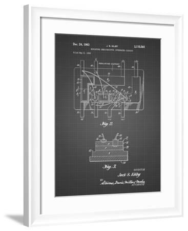PP813-Black Grid First Integrated Circuit Patent Poster-Cole Borders-Framed Giclee Print