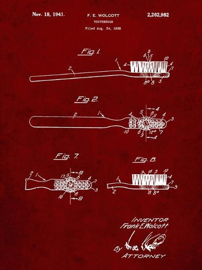 PP815-Burgundy First Toothbrush Patent Poster-Cole Borders-Giclee Print