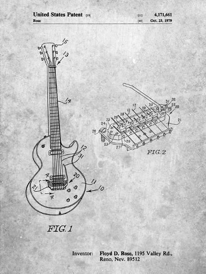 PP818-Slate Floyd Rose Guitar Tremolo Patent Poster-Cole Borders-Giclee Print